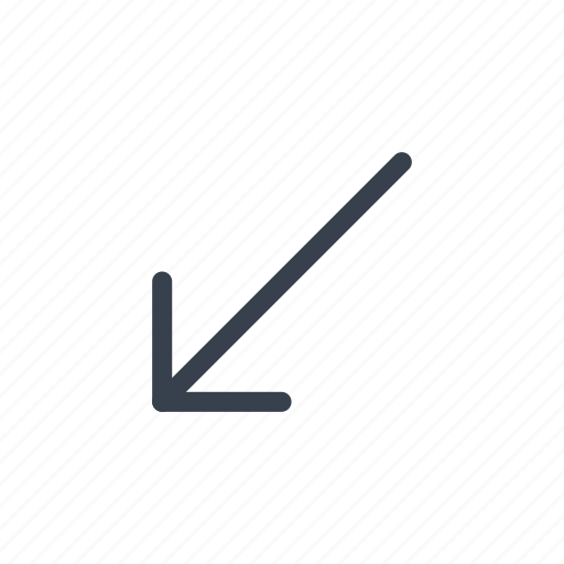 arrow, bottom, direction, left icon