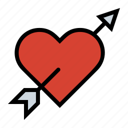 arrow, heart, love, pierced heart, romance, true love icon