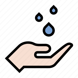 forecast, hand, rain drops, raining, water, weather icon