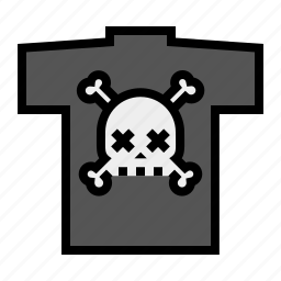 bones, death, pirate, punk, rock-n-roll, skull, t-shirt icon