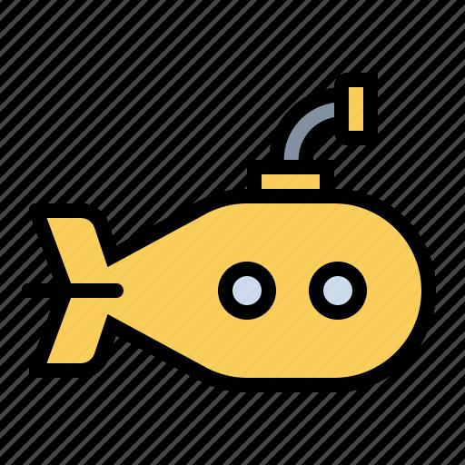 boat, nautical, sailing, sailor, submarine, yellow submarine icon