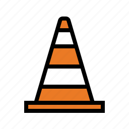 caution, drive, driving, safety cone, traffic cone, warning icon