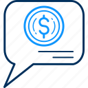 chat, dollar, feedback, message, salary icon