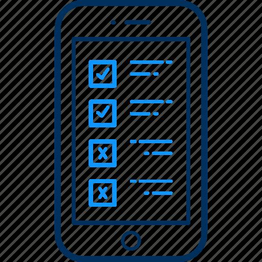 item, items, list, mobile, phone, tick, tickmark icon