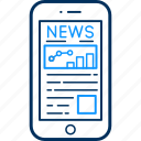 article, blog, device, media, mobile, news, phone icon
