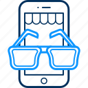 mobile, phone, shop, spectacles, spects, view icon