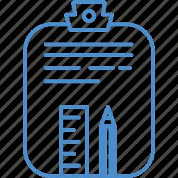 clipboard, paper, pencil, scale icon