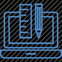 box, geometry, pencil, scale icon