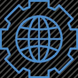 gear, globe, world icon