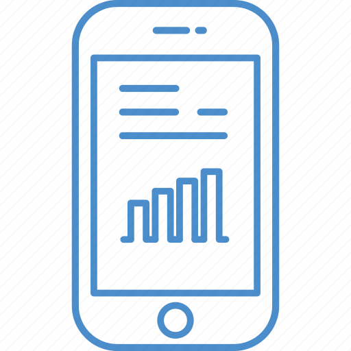 chart, graph, phone, smart, text icon