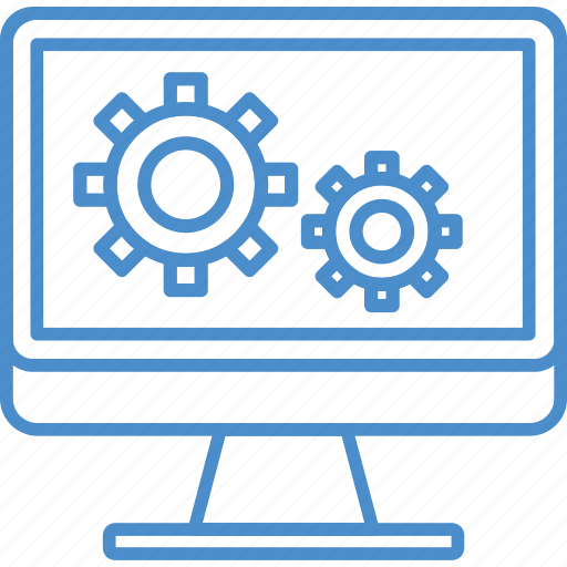 computer, gear, setting, technology icon