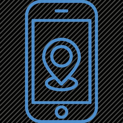 location, map, navigation, phone icon