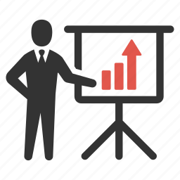 analytic, businessman, graph, growth, person, presentation, statistic icon