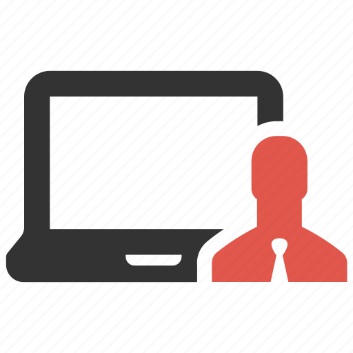 account, businessman, computer, device, laptop, person, profile icon