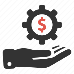 business, finance, gear, hand, invest, investment, options icon