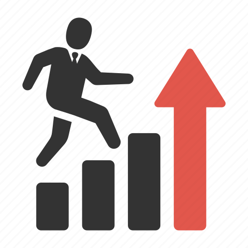 arrow, business, goal, growth, man, run, success icon