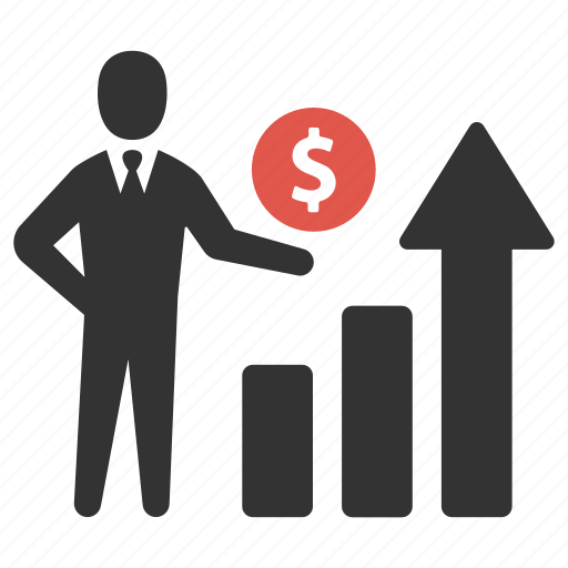business, earnings, finance, graph, growth, man, money icon