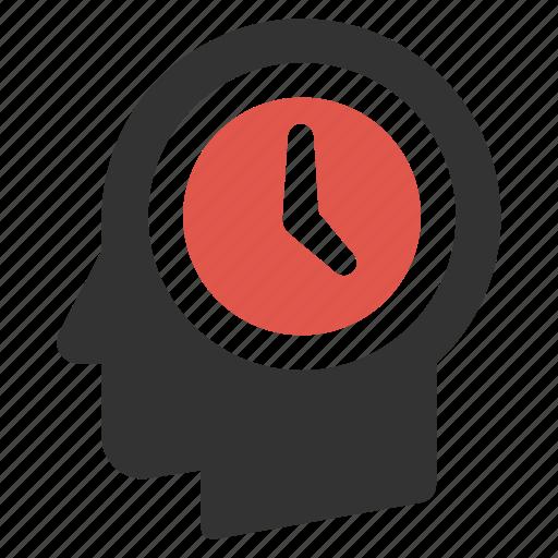 clock, head, men, schedule, time, work, working icon