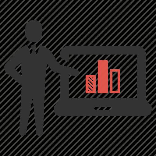 analysis, businessman, computer, device, laptop, presentation, statistic icon