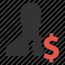 currency, dollar, earnings, finance, money, person, salesman icon