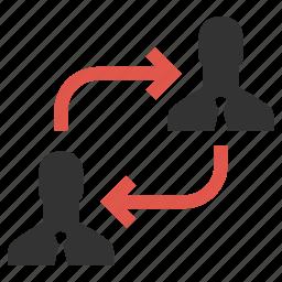 change, exchange, human resources, move, organization, rearrange, swap icon