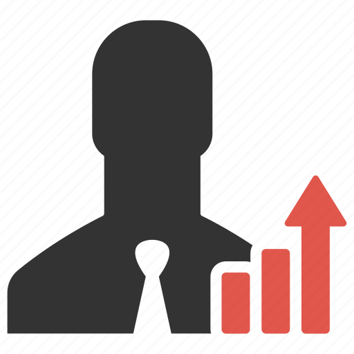 analysis, avatar, businessman, graph, growth, person, statistic icon