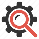 cog, find, gear, magnifier, options, productivity, settings icon