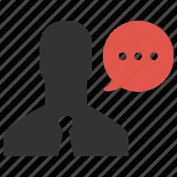businessman, chat, comment, message, person, speech, talk icon