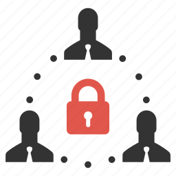 businessmen, community, connection, lock, password, people, secure icon