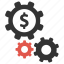 cogs, gears, money, options, pay, payment options, process icon