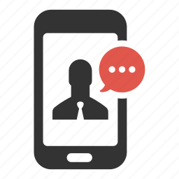businessman, chat, comment, device, message, phone, sms icon