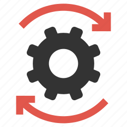 arrows, cog, configuration, gear, productivity, rotate, settings icon