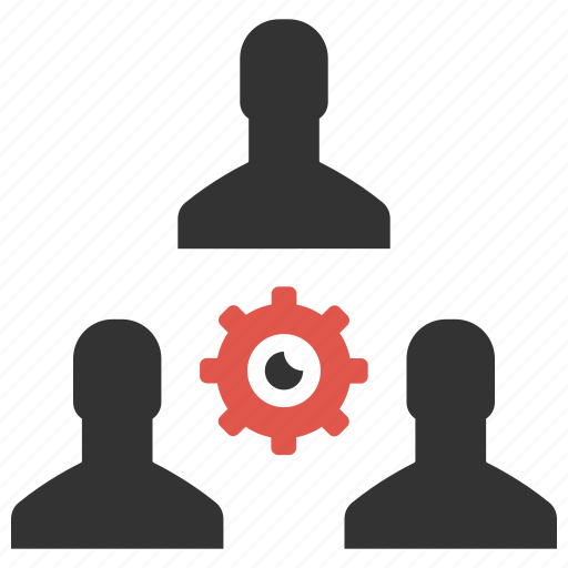 cog, community, hierarchy, management, people, support, teameork icon