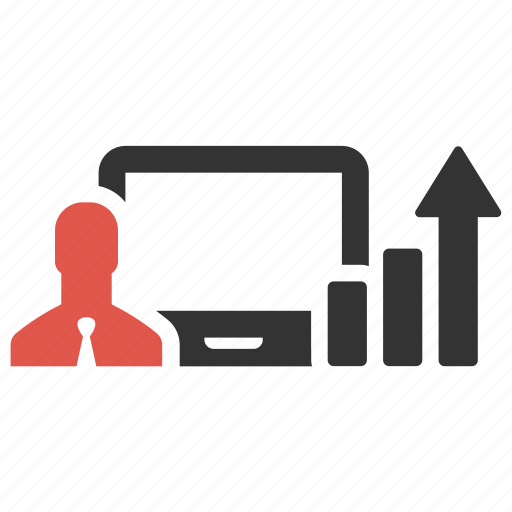 business, businessman, computer, device, graph, growth, statistic icon