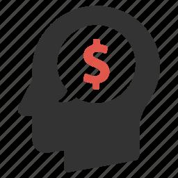 dollar, finance, head, income, investment, money, person icon