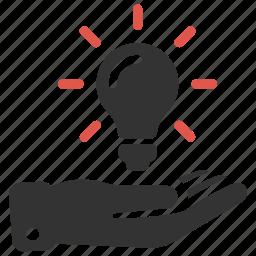 business, hand, idea, innovation, innovative, light, light bulb icon