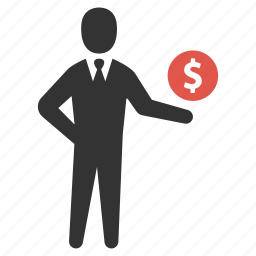 dollar, earnings, finance, income, investment, money, salesman icon