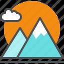 cloud, ecology, landscape, mountains, nature, plant icon