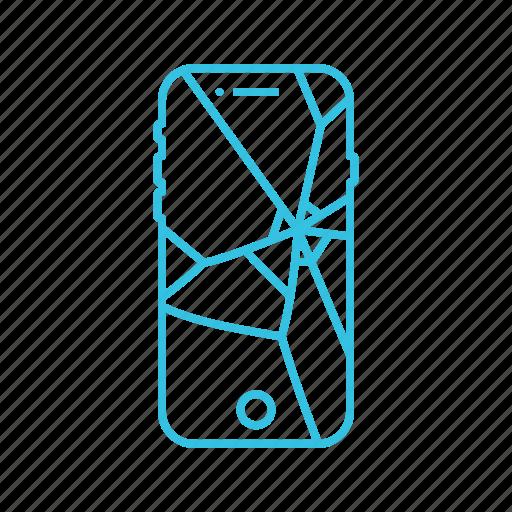 broken, glass, mobile, phone, screen icon