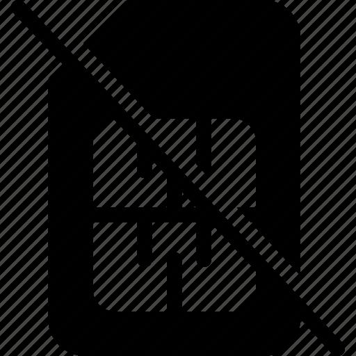 cancel, empty, no, remove, sim icon