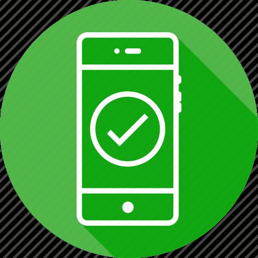 check, mobile, pure, round, tick, verify, write icon