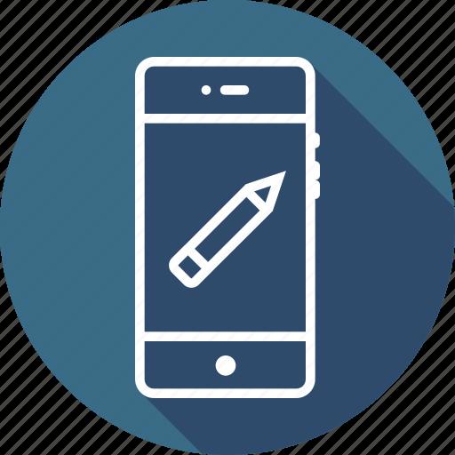 draw, edit, eraser, mobile, path, pen, pencil icon