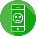 mobile, smiley, face, smile, badge, round, emoji