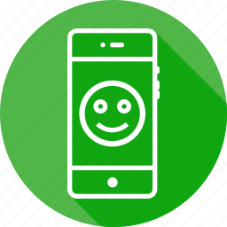 badge, emoji, face, mobile, round, smile, smiley icon