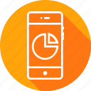 analysis, circle, graph, mobile, pacman, pie chart, round icon
