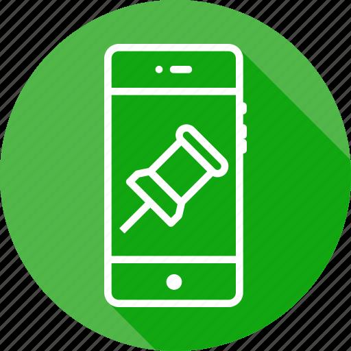 add, attach, locate, location, mobile, navigate, pin icon
