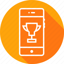 badge, first, medal, mobile, prize, trophy, winner icon
