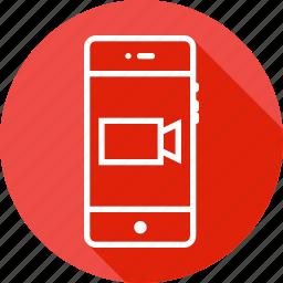 mobile, record, recording, rectangle, shape, triangle, video icon