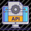 api, computer, gear, integration icon