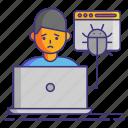 bug, computer, debug, user icon